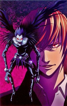 Death Note: Shinigami and Light Yagami Death Note Anime, Death Note デスノート, Death Note Light, Manga Anime, Anime Art, Shinigami, Dead Note, Amane Misa, Fantasy Art