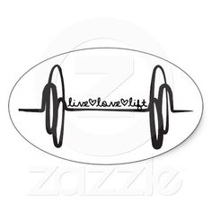 Live Love Lift Bar Black Oval Sticker #CrossFit $5.24