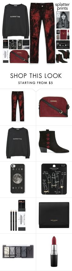 """""""Bloody Mary"""" by doga1 ❤ liked on Polyvore featuring Dorothy Perkins, MANGO, Yves Saint Laurent, Floyd, Topshop, Zippo, Mark's Tokyo Edge, H&M, MAC Cosmetics and Sloane Stationery"""