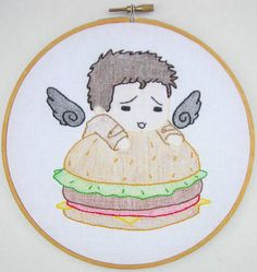 Supernatural Cas ❤ Burger embroidery hoop - Based on artwork from here http://mearii-chi.deviantart.com/art/Supernatural-Castiel-Burger-212441685