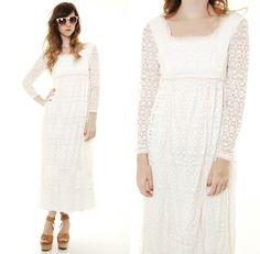 Vtg 70s white LACE sheer PRAIRIE hippie WEDDING maxi Gown dress Boho romantic S | eBay