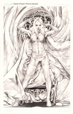 ECCC 2014 Emma Frost by Jay Anacleto, in Kirk Dilbeck's 3-Wishes presents: Jay Anacleto Pin Ups Comic Art Gallery Room - 1128415