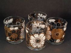 Barware Collection - GEORGES BRIARD - BLACK AND WHITE FLOWERS - ROCKS GLASSES