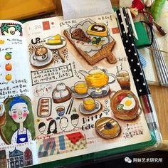 Art journal - food and beverages :) Sketch Journal, Art Journal Pages, Art Journals, Sketchbook Inspiration, Art Sketchbook, Ouvrages D'art, Doodles, Food Drawing, Bullet Journal Inspiration