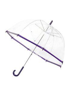 Lindy Lou - Průhledný deštník s fialovým lemem  SlimTrim - 1