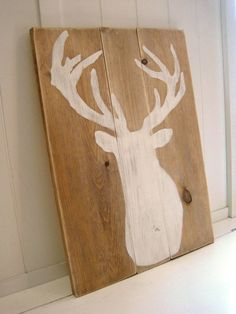 Deer Silhouette on Wood / Antlers / White Distressed / Gallery Wall Hanging Decor / Mantel on Etsy, $35.00