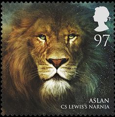 Royal Mail's new stamps from magical realms: Aslan  Beautiful stamp art..