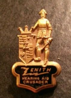Vintage Zenith Hearing Aid Crusader Lapel Pin Leavens Attlebord Gold Tone