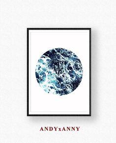 Arte geométrico impresión Digital decoración océano círculo