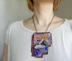 Paper necklace with raw crystal quartz-rough kyanite by Elyseeart