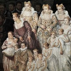 1581 Ragazzoni family. Venice  Note high back neckline on the girl at the middle right.