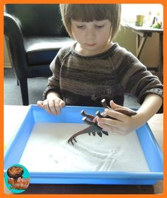 Dino writing salt tray - different tail
