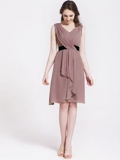 Chiffon Cascade Draped Bridesmaid Dress.  Beautiful dress that could easily be worn for many occasions, not just a wedding.