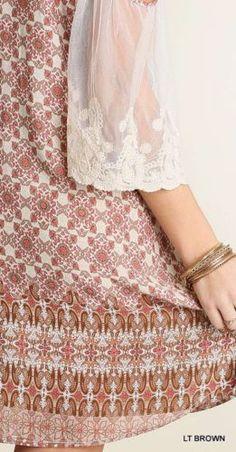 Umgee-Lace-Sleeve-Cold-Shoulder-Dress-Boho-Chic-Sheer-Geometric-Shift-A2179 #Unique_Boho_Style