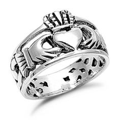 Ring features a detailed claddagh design with openwork styling. Jewelry is crafted of polished sterling silver with an antiqued finish. Claddagh ring is a wonderful way to express your friendship. Ring front measures 12 mm long x 6 mm wide. Claddagh Symbol, Silver Claddagh Ring, Claddagh Rings, Celtic Heart, Jewelery, Give It To Me, Rings For Men, Sterling Silver, My Style