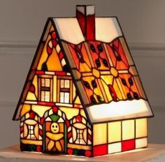 """Amazon.com: Tiffany Style Stained Glass Accent Lamp """"Gingerbread House"""": Home Improvement"""