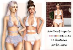 Adeline Lingerie • 15 swatches • new mesh • base game compatible • for female only • teen+ Download