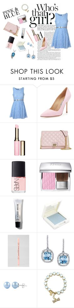 """""""Pink and Blue"""" by fionalilylove ❤ liked on Polyvore featuring Glamorous, Manolo Blahnik, Clarins, Brooks Brothers, NARS Cosmetics, Christian Dior, Bobbi Brown Cosmetics, Holika Holika, Kate Spade and Palm Beach Jewelry"""