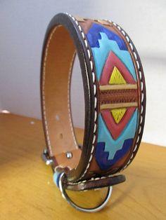 Custom tribal leather dog collar , leather dog collars , large dogs , border collies , pitbull collars , medium dogs