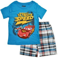 Brand new Cars McQueen tshirt cotton top t-shirt 3//4 canvas pants kid Outfit Set