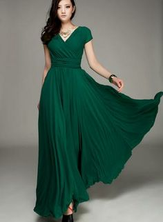 Wrapped V-neck High Waist Maxi Dress