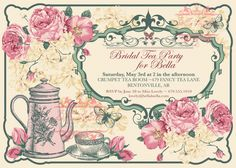 Tea party invitation templates to print free printable tea party free vintage tea party invitation template stopboris Choice Image