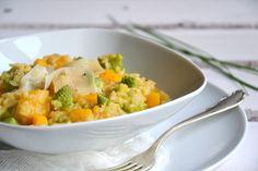 Risotto de courge butternut & chou romanesco au cidre. On peut remplacer le parmesan par du parmesan végétal ...