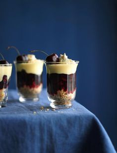 Cherry amaretti trifles from Sunil Vijayakar. Ready in 10 minutes, these trifles are sure to impress. Perfect for a small dinner party dessert. Trifle Desserts, Cold Desserts, Mini Desserts, Easy Desserts, Delicious Desserts, Dessert Recipes, Yummy Food, Plated Desserts, Easy Dinner Party Desserts