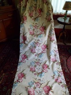 "Vintage 1940's Floral Barkcloth Curtain/Drape Pleated Panel 82""x 34"" #1"