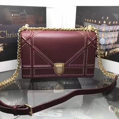 f0203687ceb6 Dior Medium Diorama Bag In Studded Lambskin Burgundy Summer 2017 Dior Bags  2017