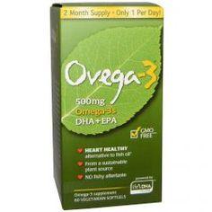 Ovega-3, Omega-3S Dha + Epa, 500 Mg, 60 Veggie Softgels, Diet Suplements 蛇