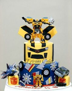 Transformers Birthday Cake Toppers - A Birthday Cake Bumble Bee Transformer Cake, Transformer Birthday, Transformers Bumblebee, Transformers Birthday Parties, Character Cakes, Birthday Cake Toppers, Birthday Cakes, Sugar Craft, Cake Boss