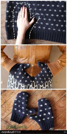 Ideas for Upcycling Old Clothes Repurposed Sweater Mittens - a brilliantly warm and thrifty idea for winter!Repurposed Sweater Mittens - a brilliantly warm and thrifty idea for winter! Fabric Crafts, Sewing Crafts, Sewing Projects, Upcycled Crafts, Repurposed, Crafts With Recycled Materials, Fabric Glue, Upcycled Vintage, Easy Gifts To Make