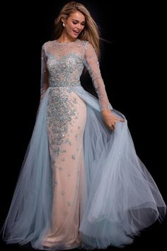 Enchant the crowd shop this look ➡ Jovani - 53743 Adorned Illusion Long Sleeve Overskirt Gown Dresses Near Me, Dresses For Sale, Dresses Online, Bridesmaid Dresses, Prom Dresses, Wedding Dresses, Sleeve Dresses, Junior Summer Dresses, Affordable Evening Dresses