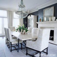 Black and white dining room design by Kate McIntyre and Brad Huntzinger for the San Francisco Show Case Home.