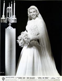 Actress Doris Day posing in a wedding dress (1950s ...