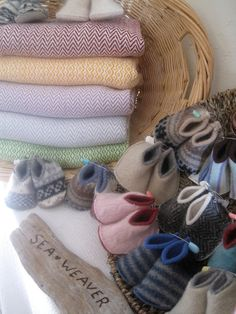 Handwoven blankets for baby - these look cuddly!