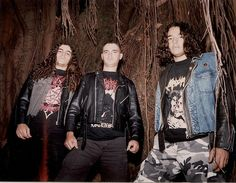 ABHORRENCE - original trinity end of 1996 with: Left to right: KLEBER VARNIER (bass) Fernando Arroyo (drums) and Rangel Arroyo (vox-guitars).  Kleber with Sarcofago - rotting t shirt , Fernando with Abhorrence -ascension tshirt and Rangel with Krisiun - Black Force domain tshirt.