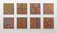 """Sol LeWitt, """"Color Bands"""" (set of eight), Linocut, 31 x 31 in. Frank Stella, Wall Drawing, Art Moderne, Modern Artists, Small Quilts, Conceptual Art, Art Design, Art Plastique, Op Art"""