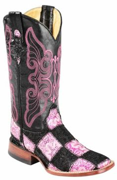 Ferrini Black & Pink Glitter Patchwork Cowgirl Boots - Square Toe - Sheplers