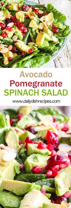 Holiday Avocado Pomegranate Spinach Salad