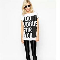 2015 New Fashion Girl TOO VOGUE FOR YOU Letter Print Shirt O-Neck Short Sleeve Women Casual T-shirt Tops Black White SML TS00571