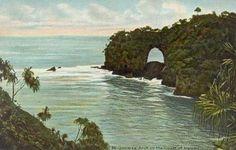 Onomea Arch on the coast of Hawaii, 1920.