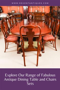 If you are looking for extraordinary antique dining table and chairs sets, you have come to the right place. We have an impressive collection and we are sure you will find something that will add a touch of old-fashioned glamour to your home or other special space. Today we would like to take you through some great examples of antique dining table and chairs sets that we currently have in stock. #furniture #antiquefurniture #antiquetable #table #diningtable #antiques #diningsets Antique Dining Tables, Dining Table Chairs, Dining Set, Table And Chair Sets, Antique Furniture, Glamour, Touch, Space, House Styles