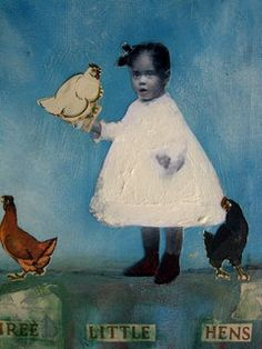 African American vintage child painting three little hens. $34.99, via Etsy.
