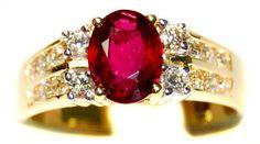 Diamond Natural Ruby Solitaire 18K Yellow Gold Ring [RS0159] BKGjewelry http://www.amazon.com/dp/B00BRJ4A2C/ref=cm_sw_r_pi_dp_K13qwb0YFAAS6
