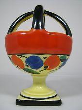 Czech Art Deco Pottery Ditmar Urbach Cross handle Vase Hand Painted Floral 1930