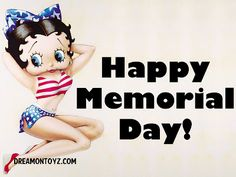 For more Betty Boop Memorial Day graphics and greetings, go to: http://bettybooppicturesarchive.blogspot.com/search/label/Memorial%20Day - Patriotic Betty Boop wearing the stars and stripes #bettyboop