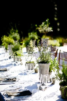 rustic potted herb table setting