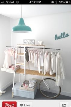 fantastic wardrobe / closet for kids. Nice in a nursery if you manage to get clothes that match together. Kids Store, Baby Store, Diy Clothes Rack, Baby Clothes Shops, Clothes Stand, Clothing Racks, Funky Clothing, Hanging Clothes, Clothing Storage